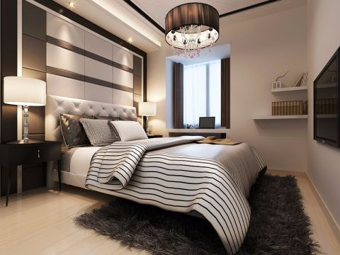 卧室白色床设计效果图