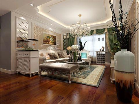 简欧客厅窗帘室内装修设计