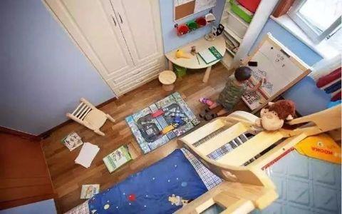 儿童房咖啡色地板砖美式风格装潢设计图片