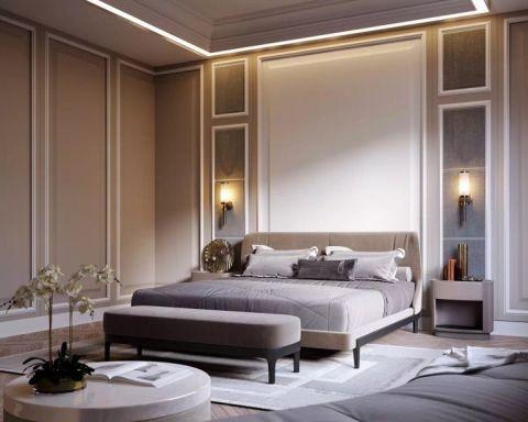 卧室灰色床简欧风格装饰图片