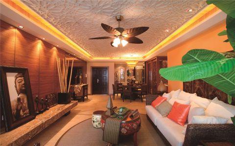 客厅白色沙发东南亚风格装饰设计图片