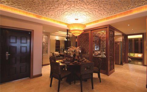 餐厅咖啡色餐桌东南亚风格装潢设计图片