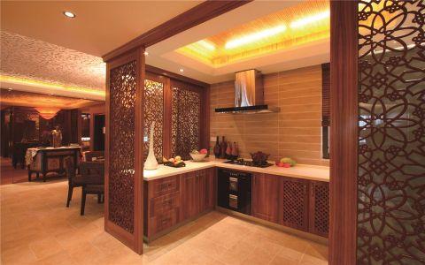 厨房咖啡色隔断东南亚风格效果图