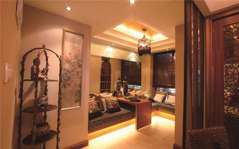 起居室咖啡色窗帘东南亚风格装修效果图
