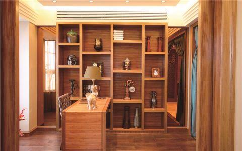 书房黄色博古架东南亚风格装饰效果图