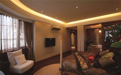 卧室咖啡色窗帘东南亚风格装饰图片