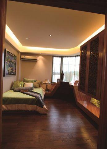 卧室咖啡色书桌东南亚风格装潢图片