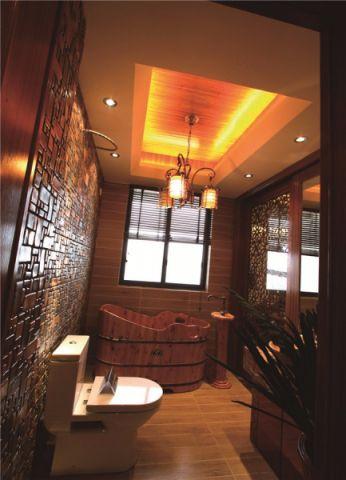 卫生间咖啡色背景墙东南亚风格装修设计图片