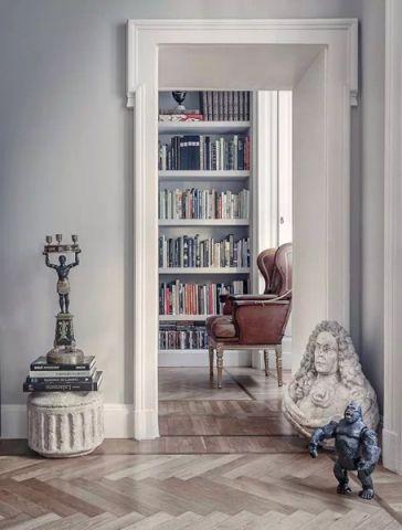 书房白色书架简欧风格装修设计图片