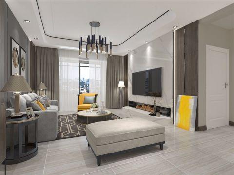 客厅灰色窗帘简约风格装饰设计图片