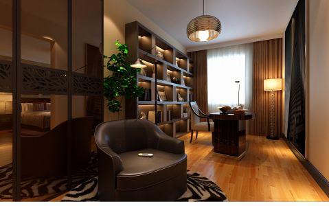书房咖啡色博古架设计图