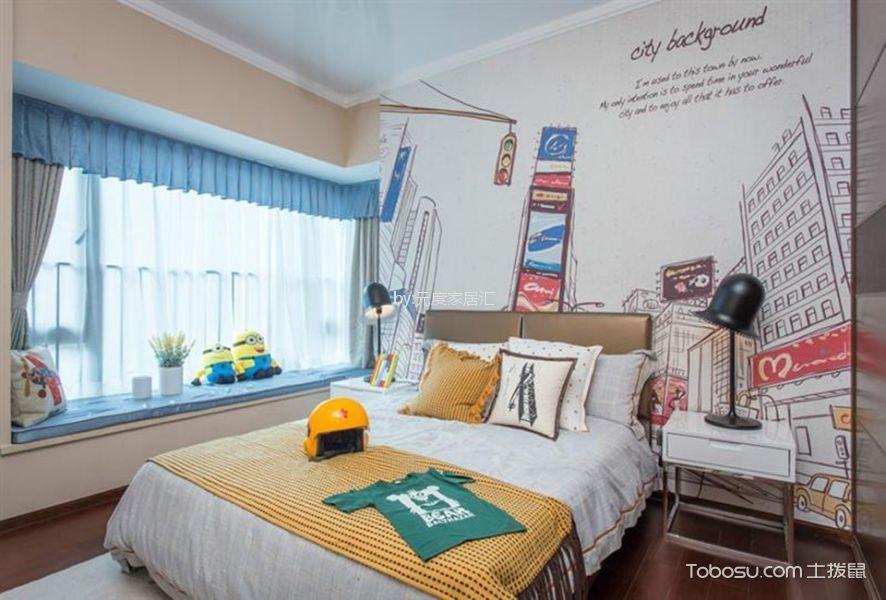儿童房蓝色窗帘现代简约风格装饰设计图片