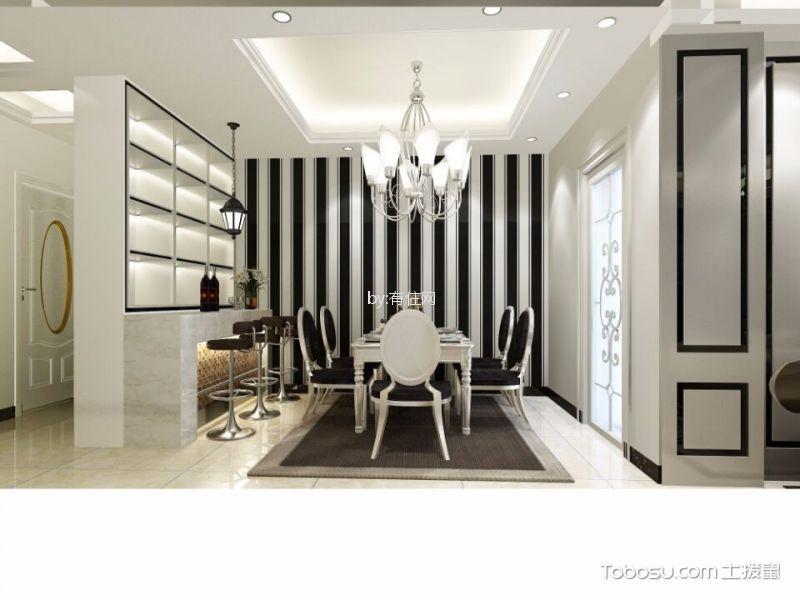 餐厅白色吧台简欧风格效果图