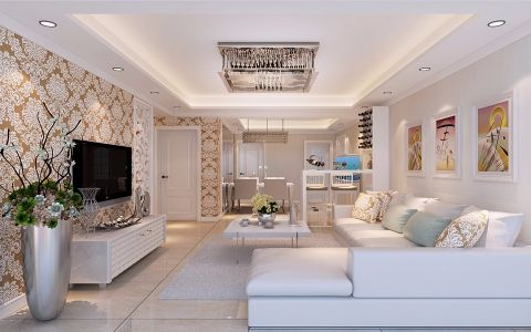 海棠苑120平方简约装修三居室装修效果图