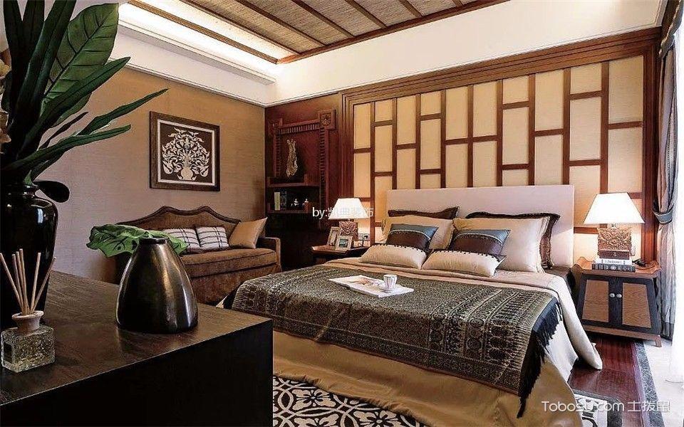 卧室咖啡色床东南亚风格装潢效果图