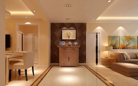 玄关黄色走廊现代简约风格装饰图片