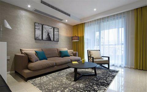 客厅黄色窗帘现代风格效果图
