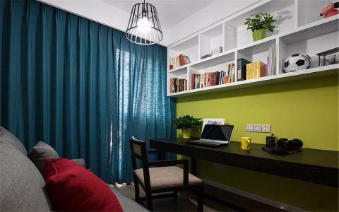 书房蓝色窗帘现代风格装修设计图片