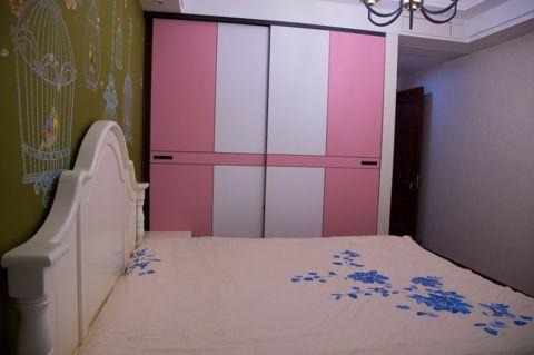 卧室彩色背景墙混搭风格装修设计图片