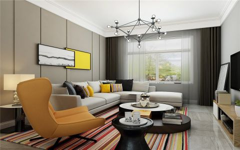 金地国际城89平现代风格二居室装修效果图