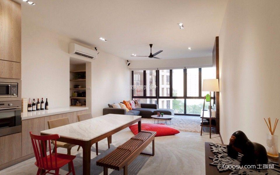 时代倾城简约风格两室两厅装修效果图