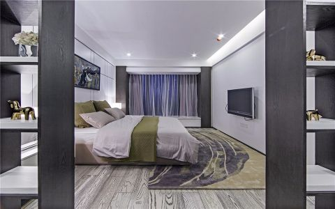 卧室灰色博古架装修方案