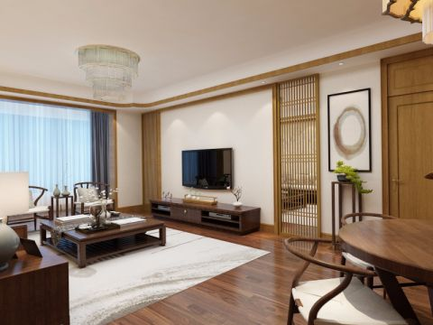 客厅窗帘中式风格装饰图片