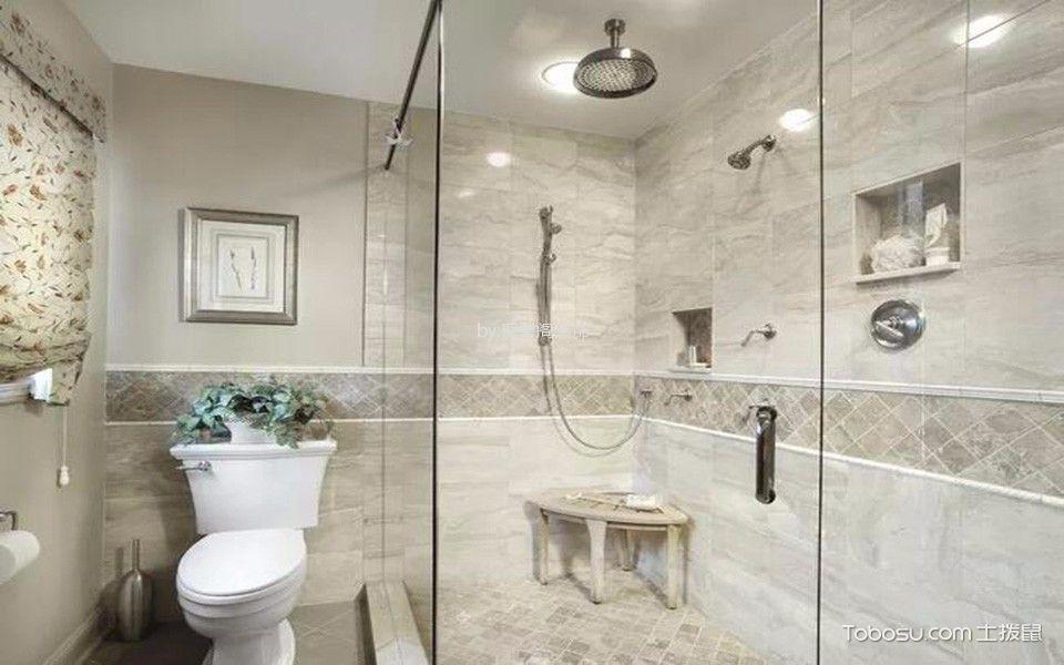 卫生间白色隔断混搭风格装修设计图片
