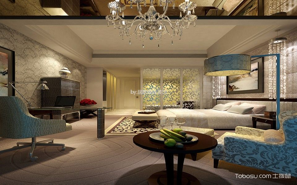 卧室白色隔断混搭风格装潢图片