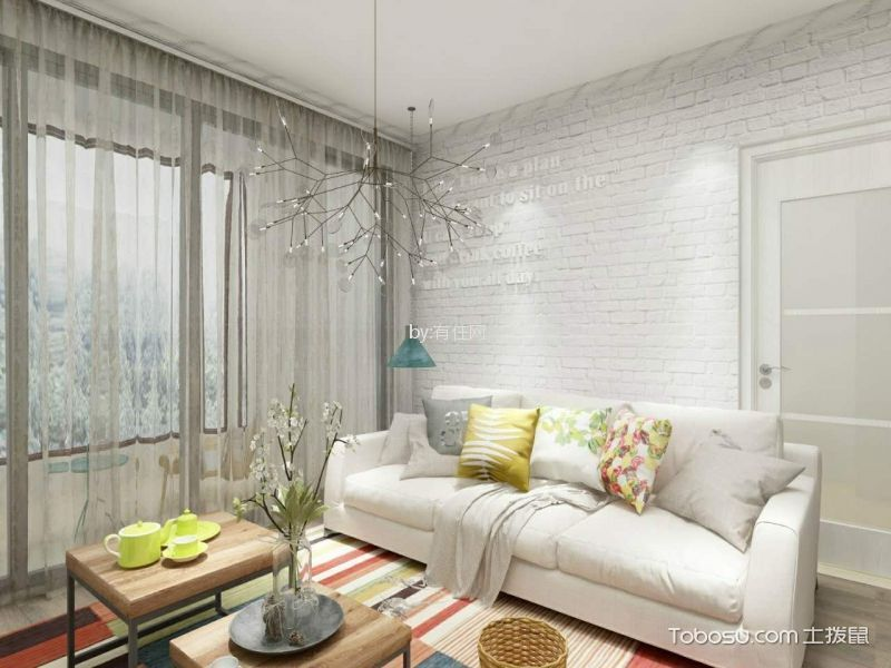 6.4万预算88平米两室两厅装修效果图