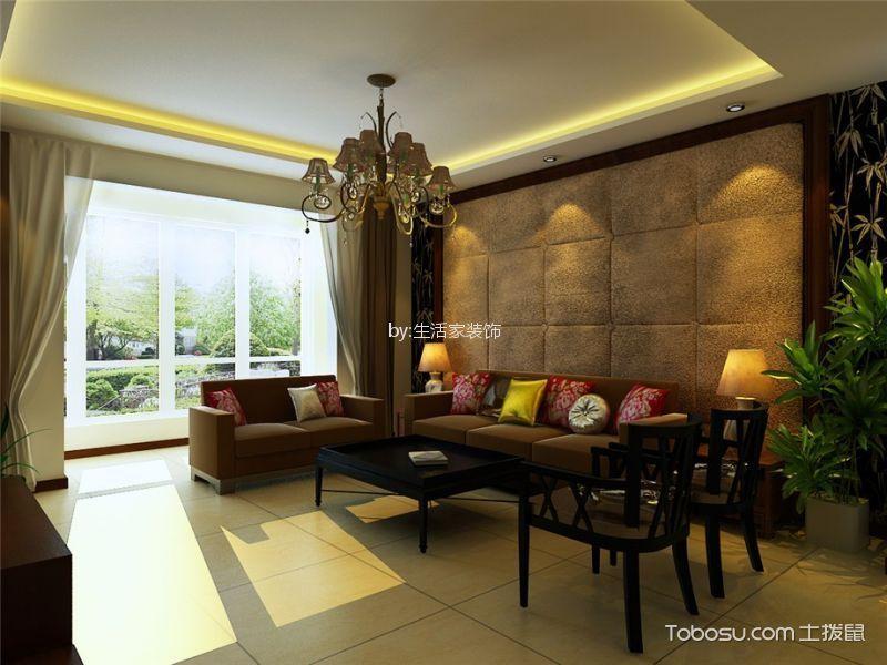 东丽1号120平新中式风格三居室装修效果图