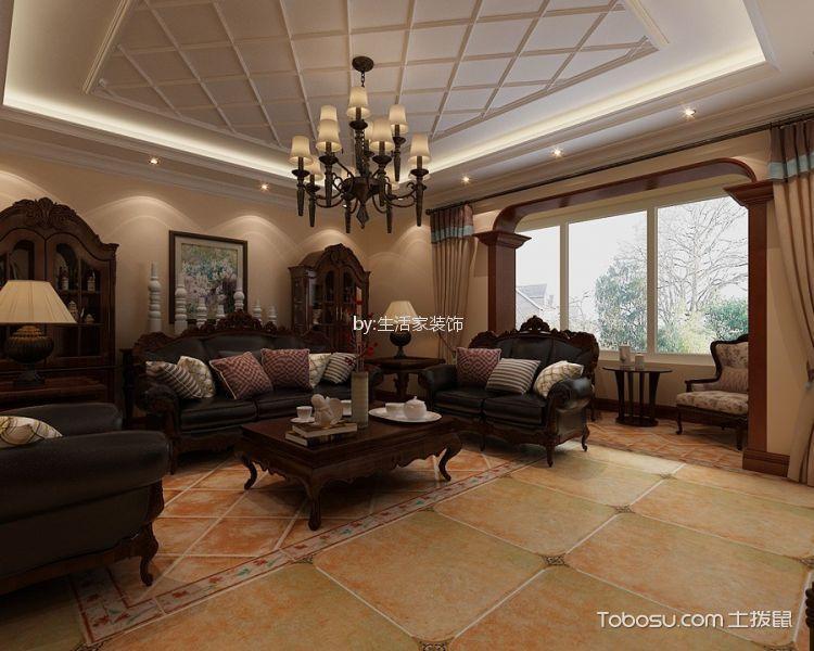 东盈园110平美式风格三室两厅装修效果图