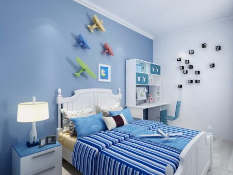 儿童房背景墙北欧风格装修图片
