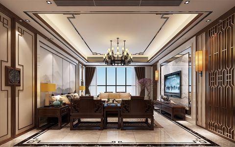 富力丽港300平新中式五居室装修效果图
