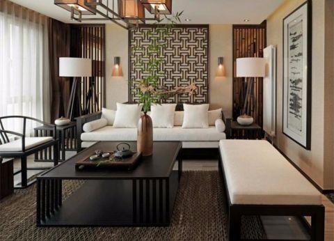 华城庭苑100平新中式风格二居室装修效果图