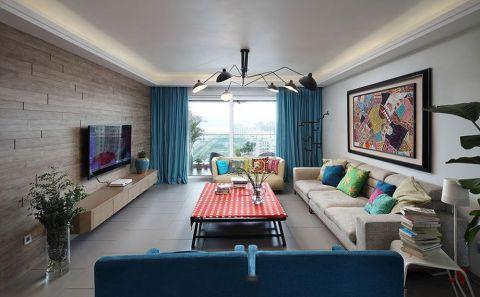 客厅窗帘混搭风格装饰图片