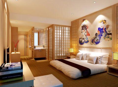 卧室背景墙日式风格装修设计图片