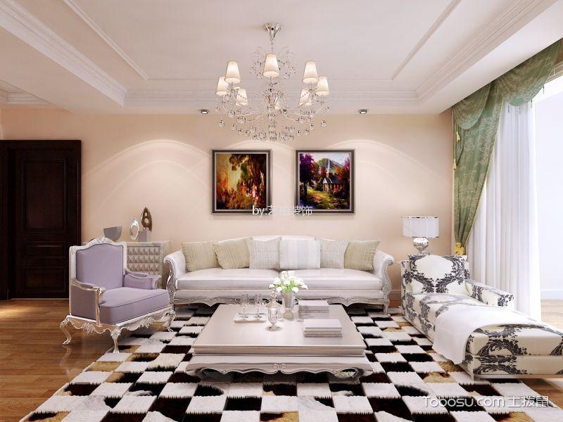 110平米欧式风格三室两厅装修效果图