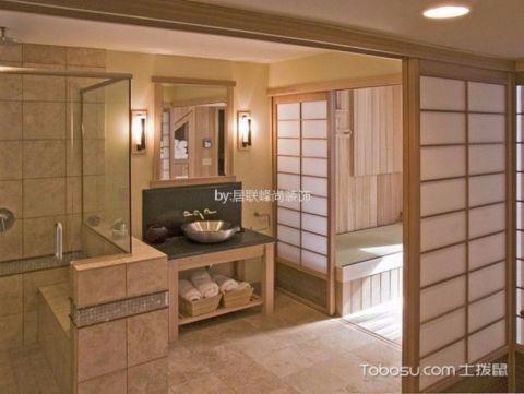 卫生间推拉门日式风格装潢设计图片