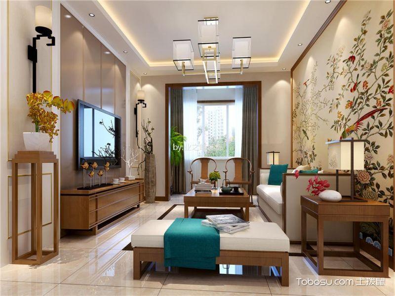 都市后花院新中式风格三室两厅装修效果图