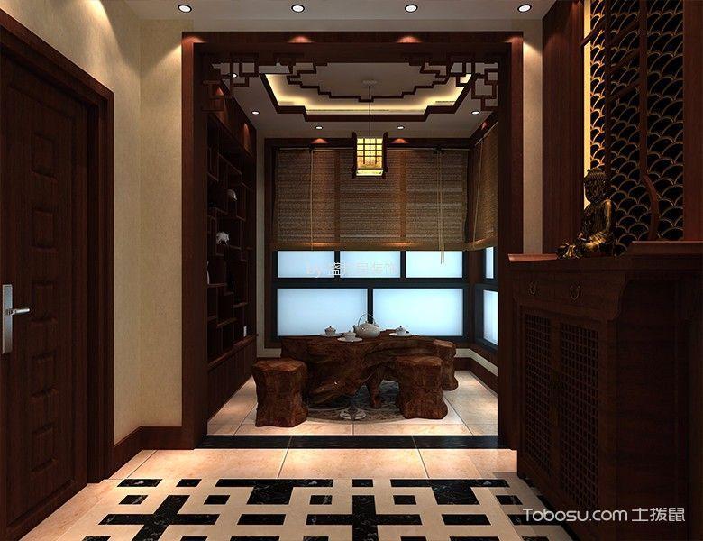 阳台黄色窗帘中式风格装修设计图片