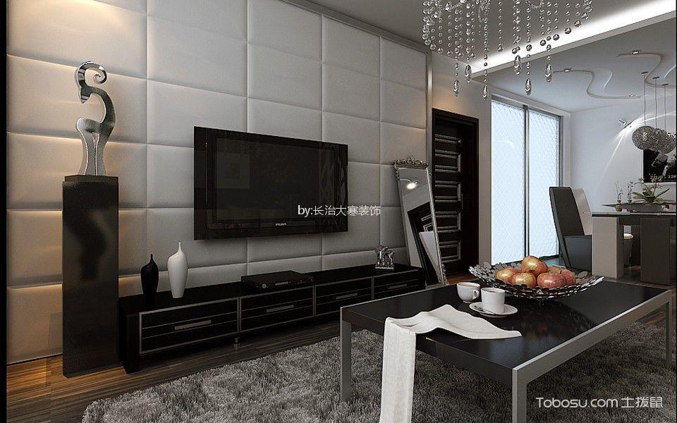 70平米黑白灰后现代风格