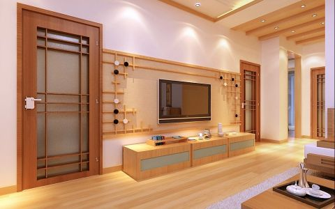 客厅背景墙日式风格装饰设计图片