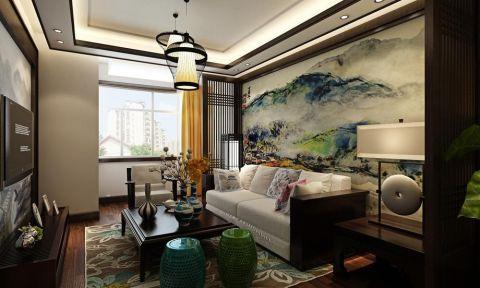 客厅窗台新中式风格装修设计图片