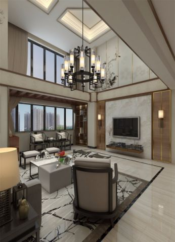 客厅吊顶新中式风格效果图
