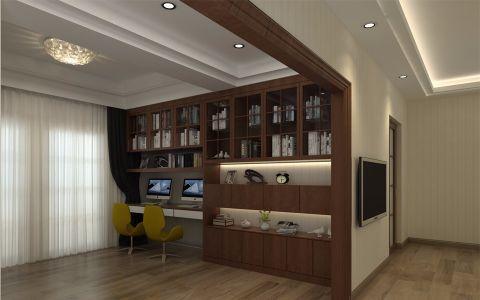 书房书架新中式风格装潢效果图