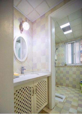 卫生间背景墙田园风格装修图片