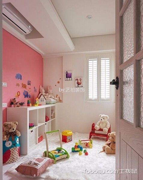 儿童房红色背景墙地中海风格装修设计图片