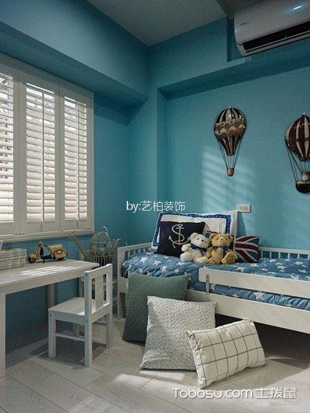 儿童房蓝色背景墙地中海风格装潢效果图