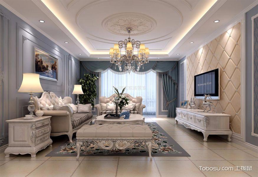 复地金融岛美式风格三居室装修效果图